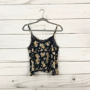 Forever 21 Navy Yellow Floral Lace Tank Top Size L